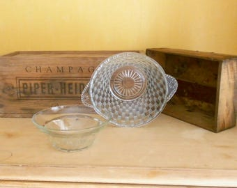 2 Glass Bowls, French Glass, German Glass, Fruit Bowls, Croix Verte, Clear Glass Serving Bowls