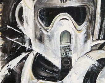 Biker scout painting - Star Wars Scout Trooper art - 10x8 inch box canvas - Ready to hang