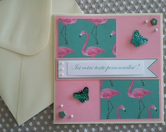 Double card customizable with matching envelope C0008 flamingos