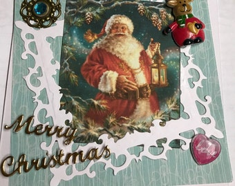 Christmas card Santa Claus is happy