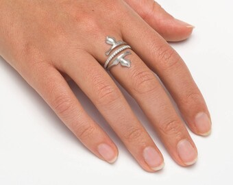 FREE SHIPPING - 925 sterling silver pave ring, Unique cubic zirconia ring, Alternative engagement ring, Unique silver ring, Double ring