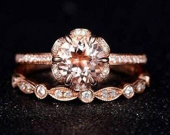 Oval Morganite Engagement Ring W Eternity Diamond Wedding