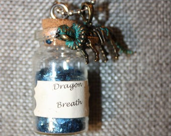 Dragon Breath Vial Necklace with Blue Glitter and Dragon Pendant
