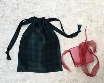 unique smallbag silk Navy green Plaid - reusable bag - zero waste