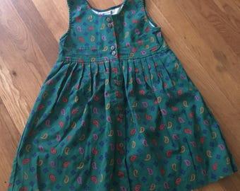 1980's green paisley & geometric print sleeveless dress with pleats - size 6x