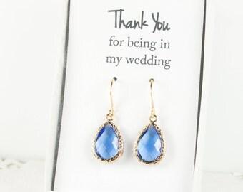 Sapphire Gold Teardrop Earrings, Gold Blue Earrings, Bridesmaid Jewelry, Blue Bridal Accessories, Blue Wedding Jewelry, September Birthstone
