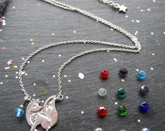 Fox Necklace with a Birthstone, Silver Plated Fox Necklace, Fox Jewellery, Minimalist Fox Necklace, Gift for Fox Lover, Fox Pendant