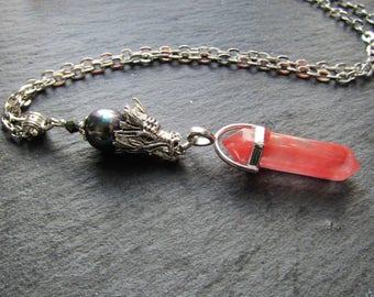 Dragon Breath Necklace with Cherry Quartz, Cherry Quartz Necklace, Dragon Necklace, Quartz Jewellery, Dragon Jewellery, Dragon, Pink Quartz