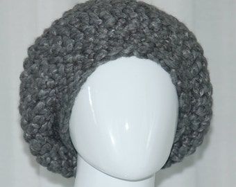 Crochet Chunky & Slouchy Hat in Gray.