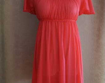 Pink Vanity Fair Vintage Babydoll Nightgown Size XS | '80s Nightgown