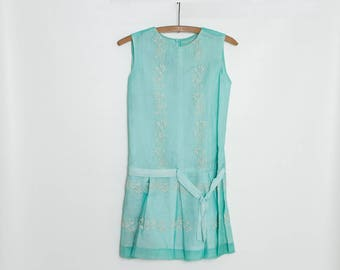 vintage 50s/60s turquoise girl's dress | embroidered drop waist dress