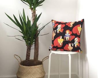 "18"" Girl Heart Cushion by KOKKA Trefle Japanese Fabric"