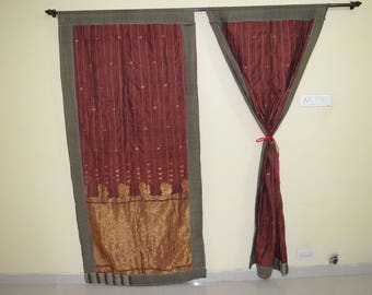 Indian Quilt Hippy curtain Cotton curtain Indian curtain sari Boho shower curtain gypsy curtain partition recycled fabric vintage QC22b