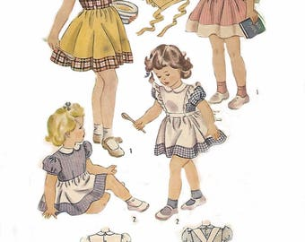 Vintage 1940's Sewing Pattern Girl's Alice in Wonderland Style Dress Age 4 WWII
