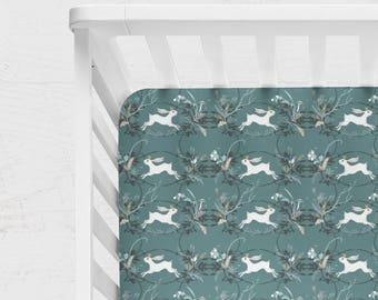 WOODLAND CRIB BEDDING. Baby boy Bedding. Bedding for girls. woodland crib sheet. rabbit Crib Sheet. Boy Crib Bedding. rabbit baby blanket