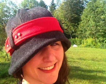 Grey wool cloche with red belt and bling