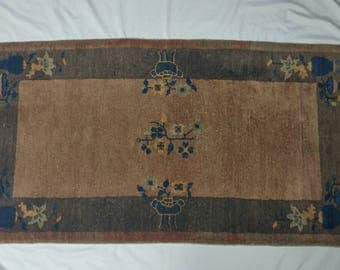 "Antique Nichols Chinese Hand Woven Wool Accent Rug 2' 1"" x 3' 9"" Earthy Browns & Blue"