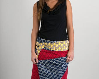 Reversible Cotton Skirt Red Floral Blue Block Print Yellow Print Detachable Pocket Long Length