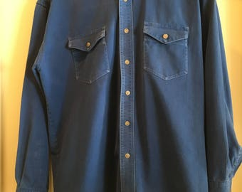 Wrangler Long Tails Men's Work Shirt Early 90's Men's Large Work Shirt