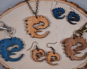 "ERAGON ""E"" DRAGON logo wood pendant necklace, keychain, earrings! - Eragon, Inheritance Cycle fans!"