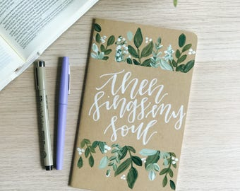Hand Painted Prayer Journal/ Moleskin Journal: Greenery Theme