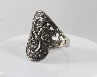 Silver Tone Marcasite Ring Band Size 7
