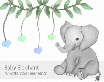 Elephant clip art - Watercolor elephant - Baby shower clip art - baby elephant clip art - animal clipart - instant download - Commercial Use