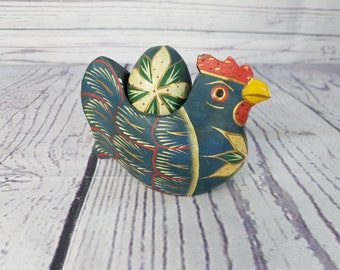 Vintage Hand Made Hand Carved Wood Painted Hen and Egg  Shabby Chic Country Chic Kitchen House Decor