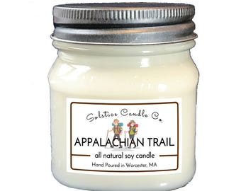 Appalachian Trail Soy Candle | Mason Jar Candle | 8 oz | Wood Wick | All Natural | Hand Poured | Nature | Home Decor