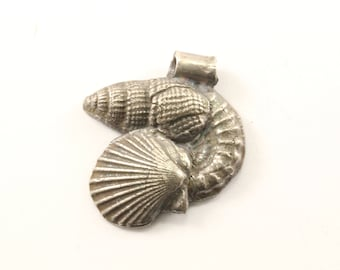 Vintage Seashells Pendant 925 Sterling Silver PD 1444