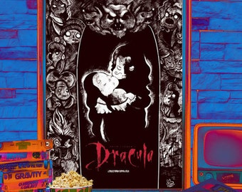 "Illustrated Bram Stoker ""Dracula"" movie poster"