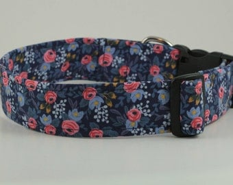 Rosa Floral in Navy Dog Collar