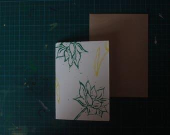 A6 linocut print card