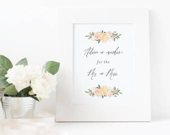 Advice for the Mr. and Mrs. Sign / Watercolor florals / PRINTABLE digital file / Instant Download