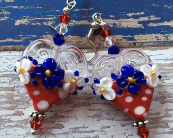 4th of July Jewelry, 4th of July Earrings, SRA Lampwork Earrings, Red, White and Blue Heart Earrings, Lampwork Jewelry, Gift For Her