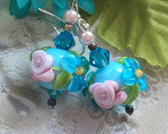 Blue Lampwork Floral Earrings with Blue and Pink Flowers, SRA Lampwork Jewelry,S RA Lampwork Earrings, Gift For Her
