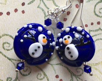 Blue Snowwman Earrings, Lampwork Jewelry, SRA Lampwork Jewelry, Holiday Jewelry, Christmas Jewelry, Christmas Earrings, Holiday Earrings
