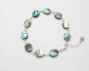 Abalone Bracelet, Wire Wrap Sterling Silver, Abalone Jewellery, Abalone Jewelry, Shell Bracelet, Mother of Pearl, Adjustable, Gift for Her