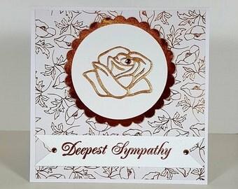 Sympathy Card - Copper Sympathy Card - Rose Sympathy Card - Condolence Card