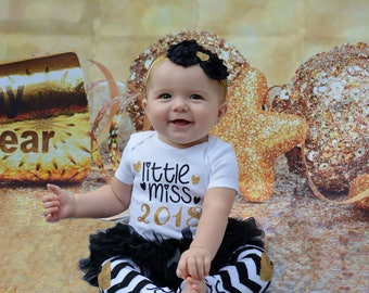 New Year Baby Girl Outfit | Baby Girl Clothes | Little Miss 2018 | Baby's First New Years | Take Home Outfit | Baby Shower Gift