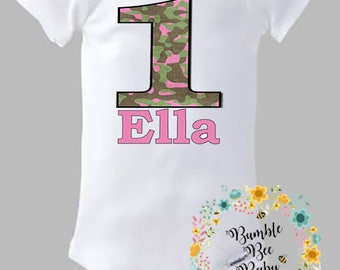 Camo Birthday Girl Onesie or Tee - Any Age or Name ... Comes With Custom Pink Camo Hair Bow