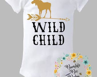 Wild Child, Onesie or Tee - Super Cute (Personalized for Girl or Boy) - Pick Your Letter  Colors and/or Animal