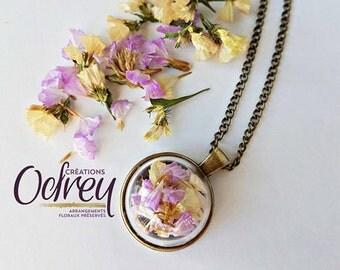 CLEARANCE, terrarium jewelry vintage brass flower chain necklace, purple, apricot, honey, decorative mirror, lucky charm