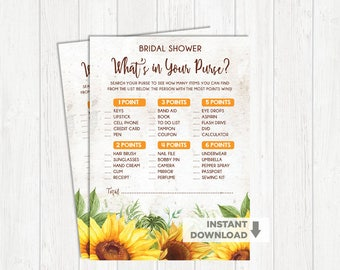 What's in Your Purse Sunflower Bridal Shower Game. Floral Garden Wedding Shower Game. Yellow Bachelorette Hens Party Activity. SUN1