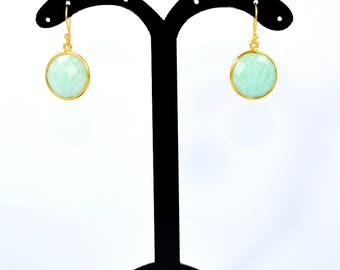 Amazonite rounds earrings,gold plating earrings .natural stone earring, green earring ,gemstone earrings,Christmas gift ,amazonite jewelry