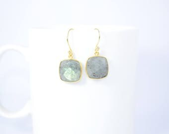 labradorite earring ,cushion earring ,grey color earring ,blue flash earring,labradorite jewelry ,gold plating earring ,Christmas gift