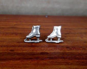 925 Sterling Silver Ice Skating Stud Earrings - Vintage - TINY