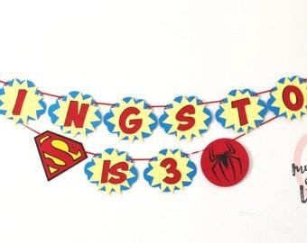 Super Hero Birthday Banner, Superman Banner, Spiderman Banner, Boy Birthday Banner, Third Birthday Banner, Custom Birthday Banner