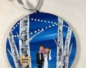 Bride and Groom Gift Idea - Hand Painted Ornament - Personalized Wedding Gift - Gift to Bride From Bridesmaid - Custom Wedding Gift Ideas