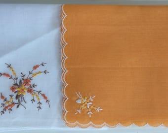 Vintage fine cotton embroidered hankies - set of 2